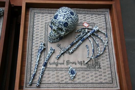 Yang Jiechang 楊詰蒼, Underground Flowers - Self- portrait, 2004,   blue-white porcelain, wooden box, silk print (image courtesy the artist)