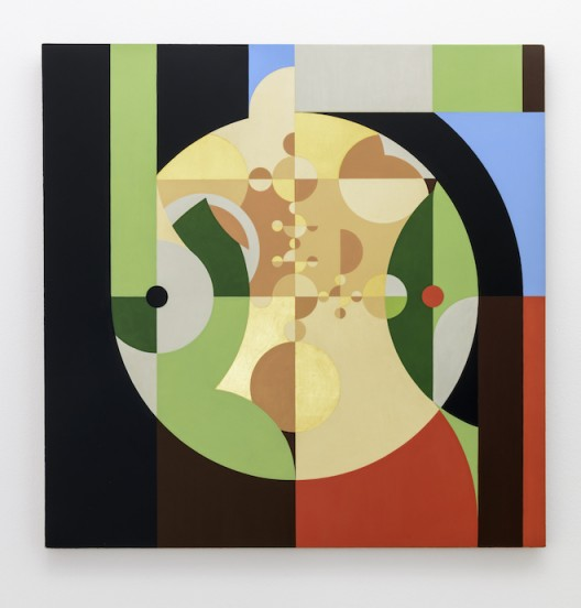 Gabriel Orozco 'First lady with a black dot' 2017 Tempera et feuille d'or polie sur cadre en lin / Tempera and burnished gold leaf on linen canvas 75 x 75 cm / 29 1/2 x 29 1/2 inches (Courtesy of the artist and Galerie Chantal Crousel, Paris Photo : Florian Kleinefenn)