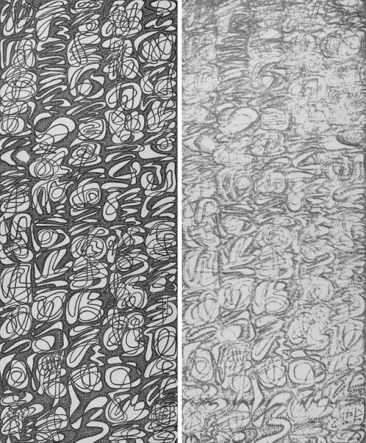 Wang Duo, Imitation in Xie An's Calligraphy (Yin · Yang) 王铎,《临谢安贴》(阴 · 阳) Ink on Paper, 370 x 144 cm x 2 pieces, 2017 ( as 1 set )