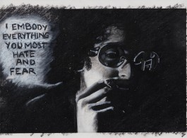 """Adrian Piper, The Mythic Being: I Embody Everything You Most Hate and Fear, 1975. Silver print, oil crayon. 8""""x 10"""" (20.32 x 25.4 cm). Private Collection. © Adrian Piper Research Archive Foundation Berlin."""