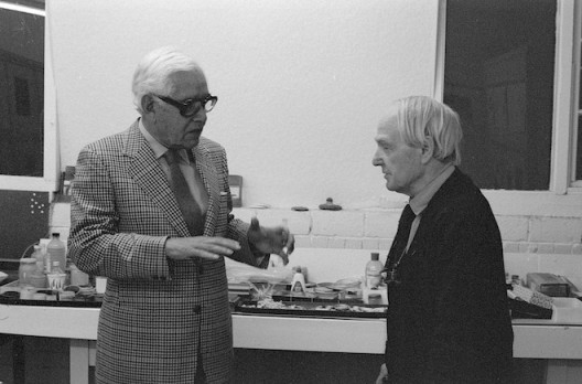 Artist Rufino Tamayo visiting Henry Moore at his studio, 1979, Copyright Marlborough Fine Art