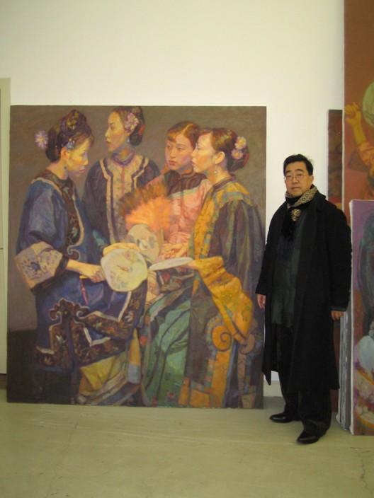 Chen Yifei Photographed in his studio, circa 2002. Photo by Gilbert Lloyd, Copyright Marlborough Fine Art