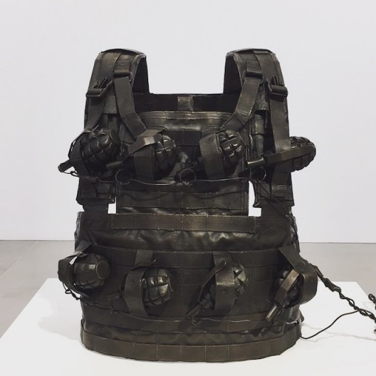 Jake & Dinos Chapman 'Life and Death Vest' 2017 with Goya prints (image courtesy the artists, photo Chris Moore)