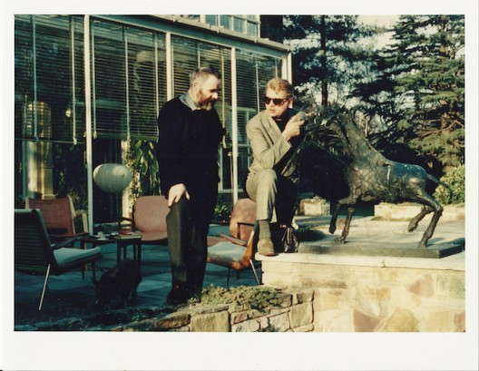 Victor Pasmore and Francis Bacon by a Germaine Richier sculpture at the Lloyd residence, London, c 1958-65 Photo by Gilbert Lloyd, Copyright Marlborough Fine Art