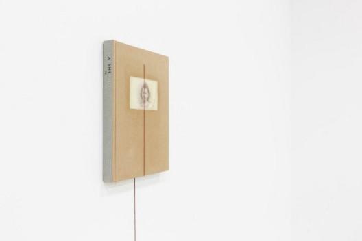 "何采柔,《九月》,油画于布面精装书本.红色漆线,依场域而定,2015 Joyce Ho, ""A September"", Oil on book cover, red painted line, Dimensions variable, 2015"