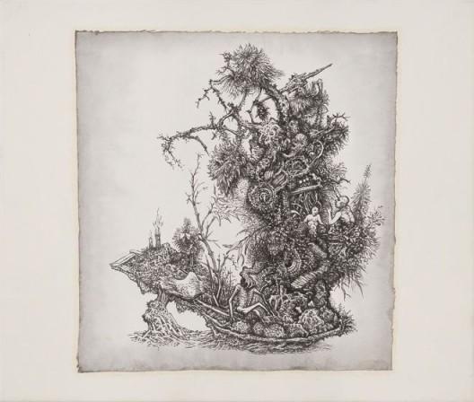 """林巨,《时代力量 拾参-仙人道 物词》,水墨.宣纸,38 x 36 cm,2016 Lin Ju, """"The Tides of Time No. 13 – Path to Immortality, Ode to Objects"""", Ink on rice paper, 38 x 36 cm,2016"""