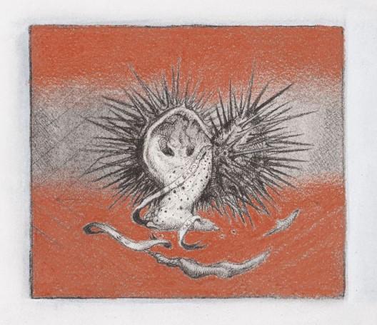 "陈敬元,《防卫机制》,素描,13 x 14.8 cm,2016 Chen Ching-Yuan, ""Defense Mechanisms"", Charcoal on paper, 13 x 14.8 cm, 2016"
