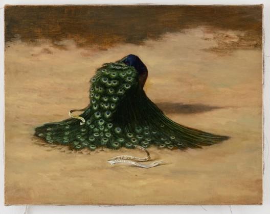 """陈敬元,《The Eyes of Peacock》,油彩.画布,40 x 31.5 cm  Chen Ching-Yuan, """"The Eyes of Peacock"""", Oil on canvas , 40 x 31.5 cm , 2017"""