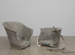 Josh Kline Sighs of the Times, 2017 Polymerized gypsum, sand, and gravel; urethane foam, rebar, acrylic, and assorted toiletries Part one: 55 x 28 x 36 inches  139.7 x 71.1 x 91.4 cm  Part two: 30 x 28 x 22 inches  76.2 x 71.1 x 55.9 cm Courtesy Stuart Shave/Modern Art, London. Copyright the Artist