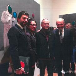 Alex Platon, Song Yige, Zeng Fanzhi and Gilbert Lloyd at opening of Song Yige exhibition at Marlborough Fine Art, January 26, 2016