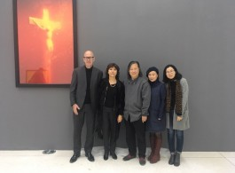 Jonas Stampe (curator), Nathalie Obadia, Mister and Madam Yan (director and wife), Wenjie Sun (assistant curator) at Andres Serrano's opening at Red Brick Art Museum in Beijing, 2017 (image courtesy Galerie Nathalie Obadia)