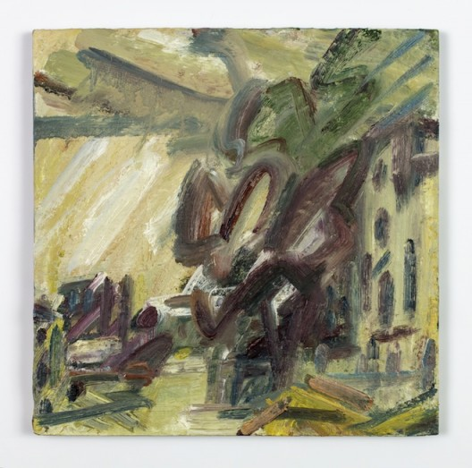 Albert Street, 2016-17, oil on board, 38.1 x 38.1 cm.; 15 x 15 in. Copyright Frank Auerbach, Courtesy Marlborough Fine Art