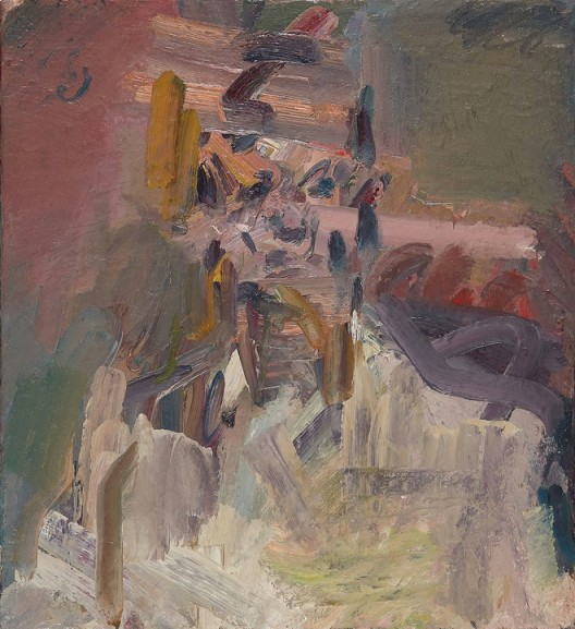 David Landau Seated, 2016-17, oil on canvas, 56.2 x 51.4 cm.; 22 1/8 x 20 1/8 in. Copyright Frank Auerbach, Courtesy Marlborough Fine Art