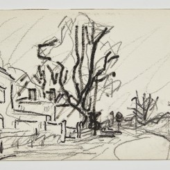 Park Village East, 1998, black ink and crayon on paper, 20 x 29.8 cm.; 7 7/8 x 11 ¾ in., entitled, signed and dated on reverse. Copyright Frank Auerbach, Courtesy Marlborough Fine Art