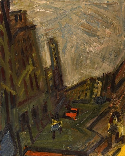 Mornington Crescent- First Light, 1989-90, oil on canvas, 134.9 x 112 cm.; 53 1/8 x 44 1/8 in. Copyright Frank Auerbach, Courtesy Marlborough Fine Art