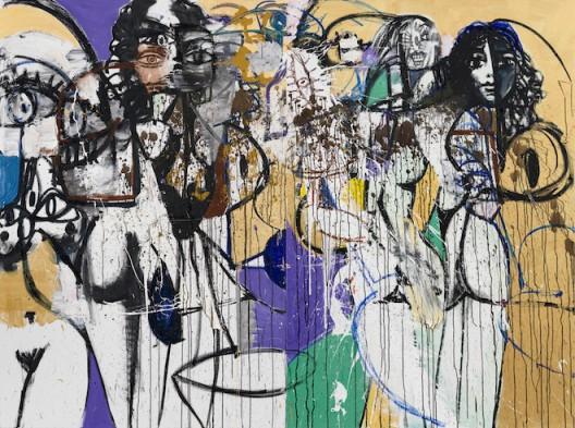 "George Condo, ""The End of Bank Street"", oil pigment stick and metallic paint on linen, 182.9 x 248.8cm, diptych, 2016 © Sprüth Magers 乔治·康多, 《银行街之末》,油画颜料棒、金属颜料、亚麻画布,182.9×248.8 cm,双联画, 2016,© Sprüth Magers"