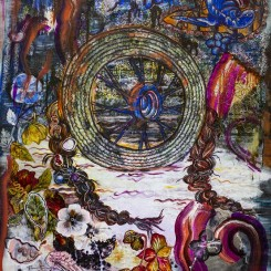 Kuo Yuping, The Wheel, 2018, Tissue paper, acrylic paint, ink, 97x70cm
