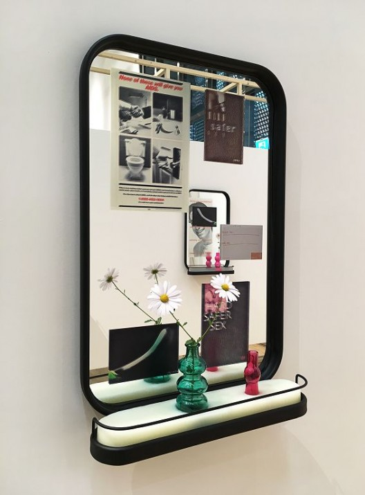 Luo Jr-shin, in Budding, in Blooming, in Withering, 2017, Metal, mirror, pigment print, scented soap, glass vase, flower. In plastic bag: green tea, beer, whisky, soft drink, Each approx.: 80x50x15cm