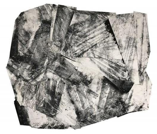 郑重宾,《未知的成形》,墨 丙烯 宣纸 尼龙 铝板,179 x 205 cm,2018 Zheng Chongbin, Unknown Formation, Ink and acrylic on xuan paper, nylon and aluminum board, 179 x 205 cm, 2018