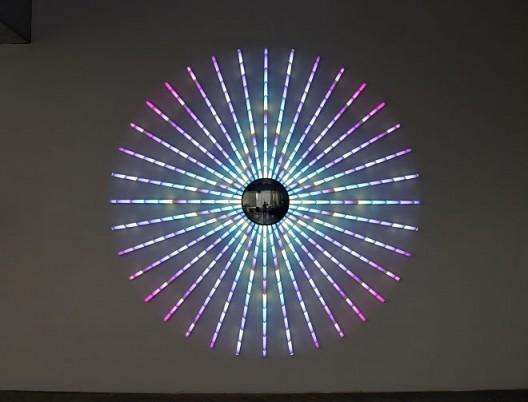 Blue Star, 2014, James Clar, LED Lights, Mirror, Filters, Wire, 240cm diameter