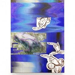 Vivien Zhang, Three Manicules II, mixed media on canvas, 35 x 25 cm, 2018