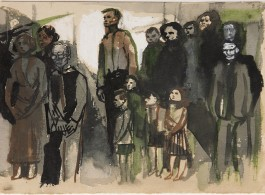 Andrzej Wróblewski Group Scene no.238, undated.  Watercolour and gouache on paper 5 7/8 x 8 1/4 inches  15 x 21 cm  ⓒ Andrzej Wróblewski Foundation/www.andrzejwroblewski.pl. Private collection.