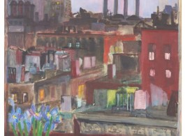 Jane Freilicher, Early New York Evening, 1954, oil on linen, 51 1/2 x 31 3/4 inches, 130.8 x 80.6 cm. Courtesy the Estate of Jane Freilicher and Paul Kasmin Gallery 简·弗莱里奇,《早期纽约的傍晚》,1954,亚麻布面油画,51 1/2 x 31 3/4英寸,130.8 x 80.6厘米,鸣谢简·弗莱里奇遗产和保罗·卡斯明画廊