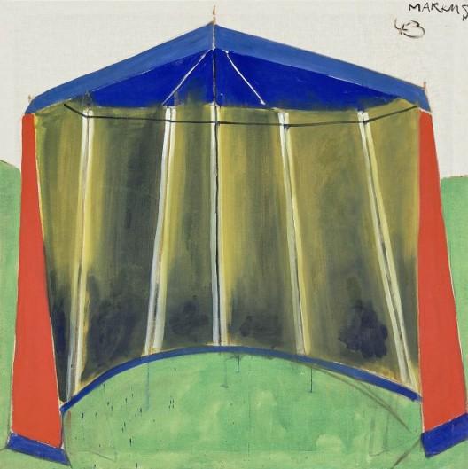 Zelt 43 - dithyrambisch, 1965. Distemper on canvas, 61 1/2 x 60 1/2 inches (156 x 154 cm).