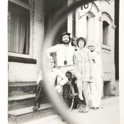 1968, Jorge, Felix, Granada Gazelle and Mimi Paige outside GI Headquarters
