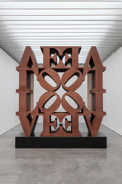 """Robert Indiana, """"LOVE WALL,"""" 1966 – 2006, Cor-ten steel, 144 x 144 x 48 inches, 366 x 366 x 122 cm. Installation view at Paul Kasmin Gallery 2018 © 2018 Morgan Art Foundation / Artists Rights Society (ARS), New York. Photo: Christopher Stach"""