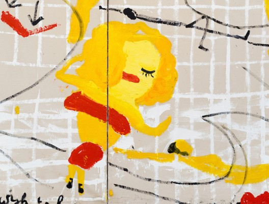 Rose Wylie Yellow Girls I, 2017 (detail) Oil on canvas in two (2) parts 72 x 133 7/8 inches  183 x 340 cm © Rose Wylie Courtesy the artist and David Zwirner, London