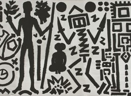 A.R. Penck, Welt des Adlers IV (World of the Eagle IV), 1981. Acrylic on canvas, 70 3/4 x 110 1/4 inches (180 x 280 cm).