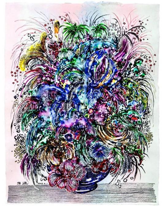 Sun Xun Gorgeous and Flourishing 繁丽 2018 Light box, luminous agent, watercolour on luminous paper 79.5 x 59.5cm