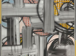 Keltie Ferris, [[[GENAU]]], 2018, oil and acrylic on canvas in artist's frame, 187 x 156 cm