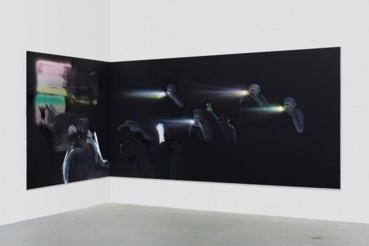 Tala Madani,Corner Projection with Prism Refraction and Buckets, 2018. © Tala Madani, courtesy 303 Gallery, New York.塔拉·马达尼,《棱镜折射与感光元件角落投影》,2018,图片由塔拉·马达尼和纽约303画廊提供