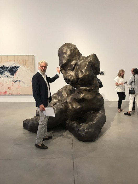 Jens next to a sculpture by Tracey Emin, France 2017