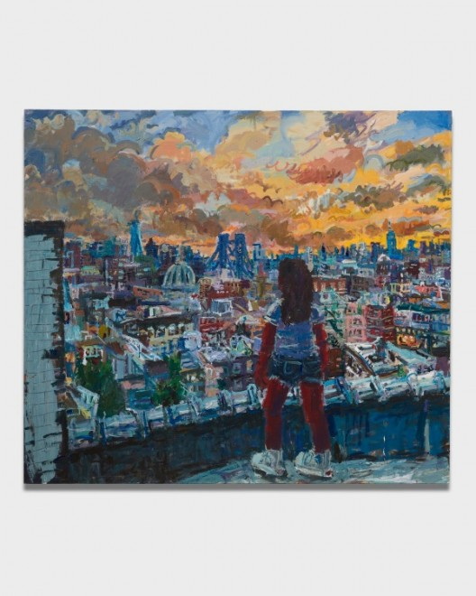 Todd Bienvenu, Brooklyn in the Front, Manhattan in Back, 2018, Acrylic on canvas, 213 x 243 cm I 84 x 96 inches / Courtesy of the Artist and Almine Rech Gallery. Photo: Matt Kroening