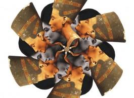 Pio Abad, design for ceramic plate depicting Imelda Marcos as Semiramis, mistakenly depicted as Nefertiti, 2012.