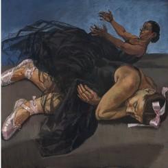 "Paula Rego, ""Dancing Ostriches from Disney's 'Fantasia'"",  1995. Triptych, pastel on paper mounted on aluminium, each panel 150 x 150 cm. Saatchi Collection, London  宝拉·雷戈,""迪士尼幻想曲之跳舞的鸵鸟"",1995,三联纸上色粉镶铝框,每幅150 x 150 cm,伦敦萨奇收藏"