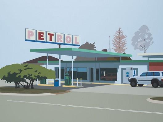 Petrol Station 2018 Acrylic on board 46 x 61cm