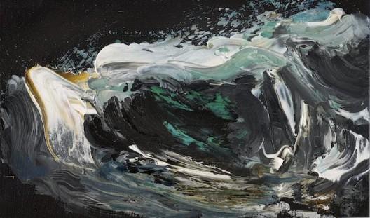 Maggi Hambling, Night wave breaking 1, oil on panel, 11 x 18 cm, 2005 崩碎的夜浪 1, 2005, 木板油画, 11 x 18 厘米 , 私人收藏  (image courtesy the artist and Marlborough Gallery)