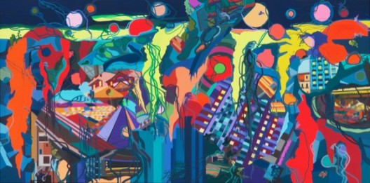 Franz ACKERMANN 弗兰兹·艾稞曼_Heavy Rain 倾盆大雨_2012_Oil on canvas 布面油画_540 × 260cm
