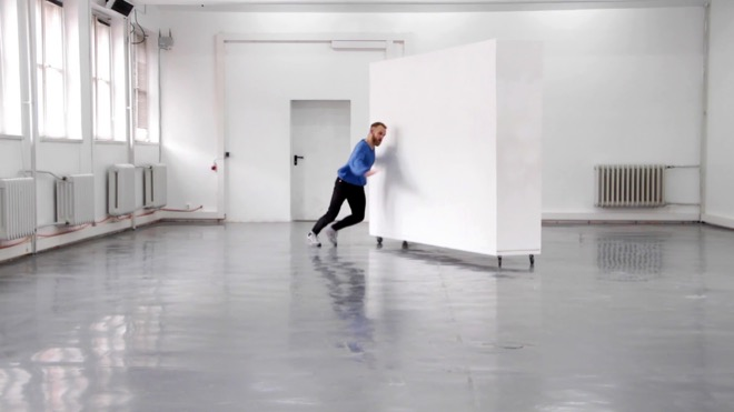 Film still from performance and video. Featuring dancer / actor Búi Rouch (HD video, sound, 6:54 min.)