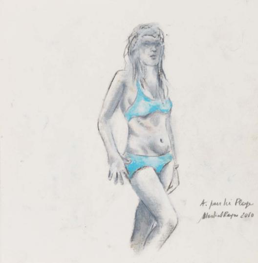"马歇尔·雷斯,《Ici plage》中的 A, 纸上色粉,24 × 24 cm,2010Martial Raysse,""A. pour ici plage"", pastel on paper, 24 × 24 cm, 2010"