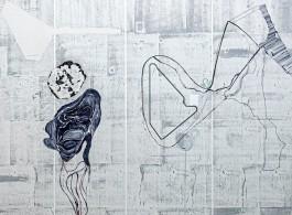 Ji Dachun Untitled [detail], 2019, Acrylic on canvas 185 x 160 cm (photo Simon Vogel.  Courtesy the artist and Galerie Nagel Draxler Berlin/ Cologne/ Munich)