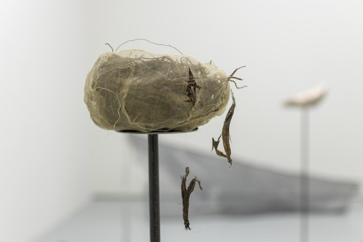 Hu Xiaoyuan, Spheres of Doubt 2019 Steel bar, marble, wood, raw silk, wooden stick, sea water–eroded limestone, glass cup, body soap, cast-iron scale, brick, cement, bird's nest, and passion fruit Dimensions variable Commissioned by M+, Hong Kong Installation view, 2019. Image: Winnie Yeung @ iMAGE28 Courtesy of M+, Hong Kong