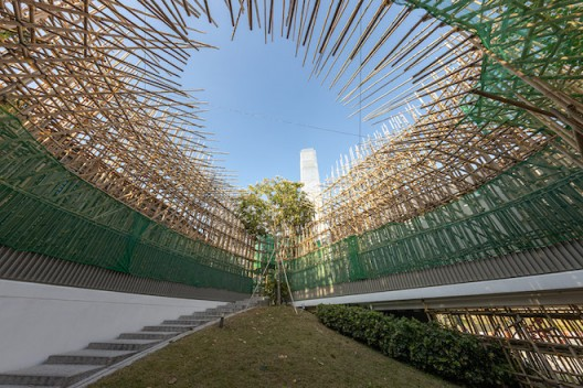 Liang Shuo,    In the Peak 2019 Bamboo, plastic mesh, and artificial branches Dimensions variable Commissioned by M+, Hong Kong Installation view, 2019. Image: Winnie Yeung @ iMAGE28 Courtesy of M+, Hong Kong