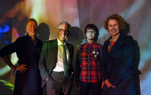 Catriona and Simon Mordant, with Pipilotti Rist (center) and Elizabeth Ann Macgregor