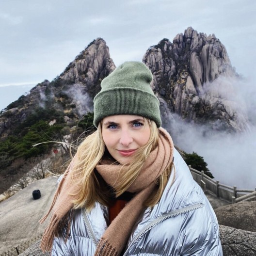 Alice Gee on Huangshan mountain, Anhui Province, December 2019