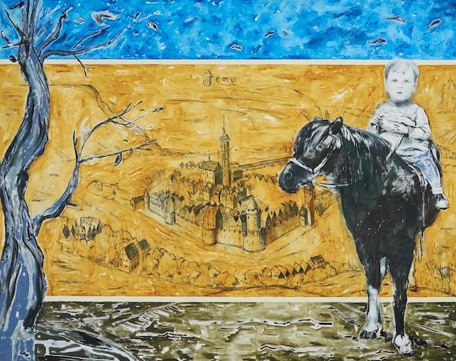 """Werner Büttner, On Thrownness and Entanglement (Von Geworfenheit und Verstrickung), 2017, 74,9"""" × 94,6"""" / 190 cm × 240 cm, oil / canvas (image courtesy the artist)"""